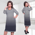 Элегантный Осень Зима женщины dress большие размеры Женская свободные длинные платья плюс размер dress Three Четверти casual dress vestidos L-6XL