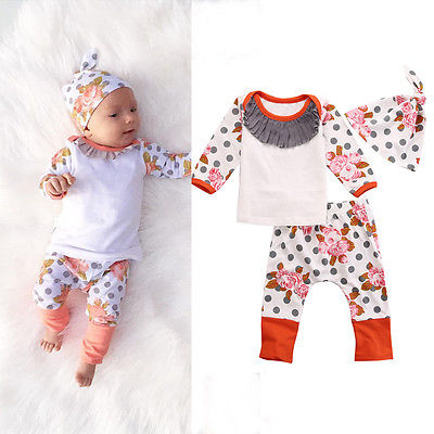 Newborn Baby Kids Girls Autumn&Winter Clothes Cotton Flower Print Polka Dots Long Sleeve Tops+ Long Pant+Hat Outfits 3pcs 0-18M autumn fall baby girls dress outfits flower print a line ball gowns kids clothes