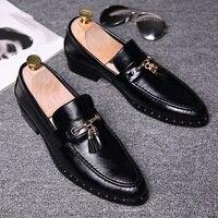 British Fashion Men Business Wedding Dress Genuine Leather Tassel Shoes Rivet Slip On Lazy Driving Oxford