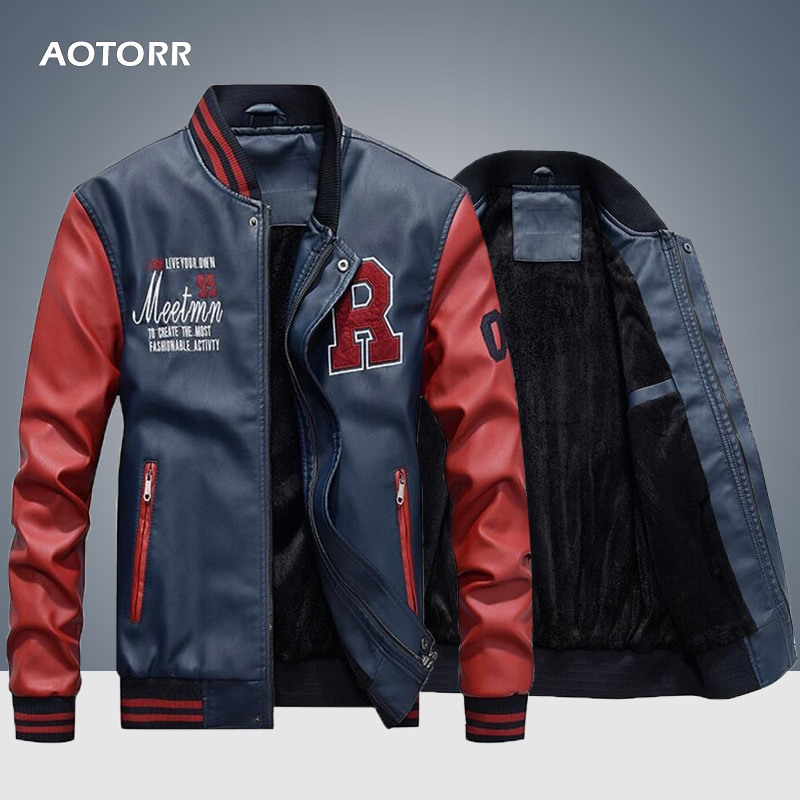 364aa46b2 Spring Autumn PU Baseball Jacket for Men Stand Collar Handsome ...