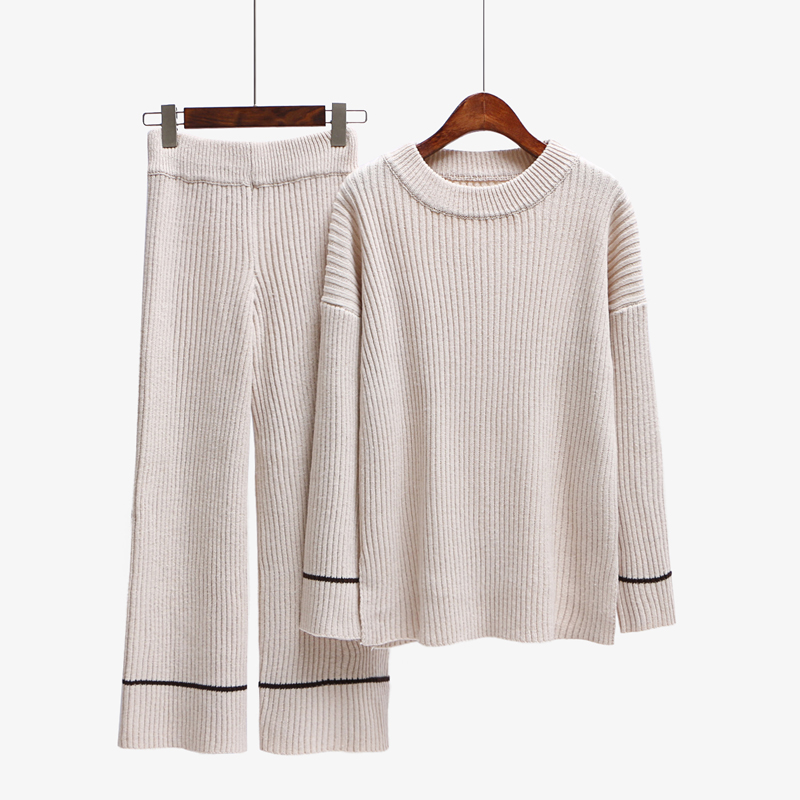 2018 Real Tracksuits Sale Full None O-neck Elastic Waist New Female Wool Sweater Knitted Suit Neck Long Loose + Wide Leg Pants