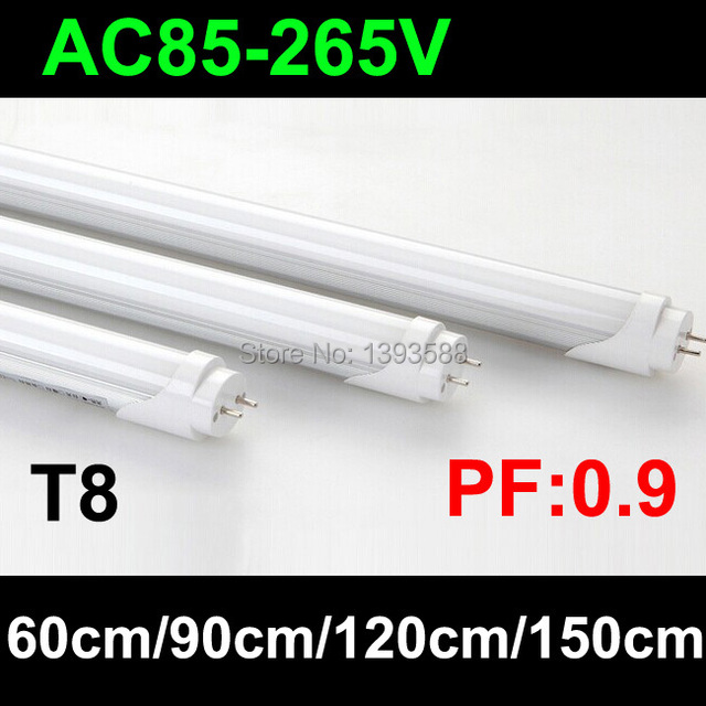 25pcs/lot PF 0.9 highest brightness t8 led tube 600mm 10W 900mm 15W 1200mm 20W 1500mm 25w AC110V 220V 230V 240V 85V-265V 2835SMD