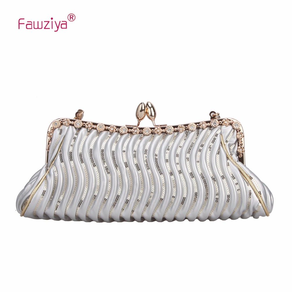 Fawziya Crystal Sequins Kiss Lock Hand Bag Small Purse With Shoulder Strap