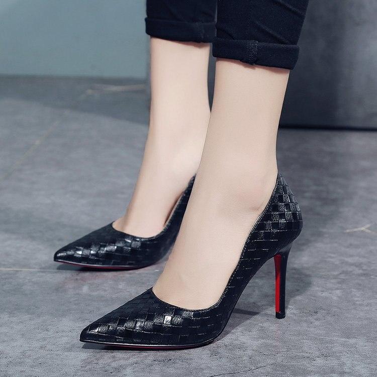 Altos Sexy Mujeres blanco De Boda Zapatos Primavera Moda Estrecha Tacones Señora Punta Calzado Negro rFExr6wq