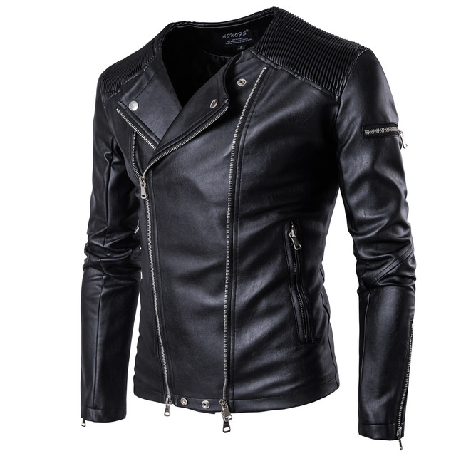 d40c16ee27cd5 Leather Jacket Men Multi-zipper Fashion Stand Collar PU Leather Coat Male  Motorcycle Leather Jackets Brand Clothing EUR SIZE