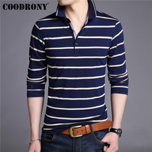 COODRONY Brand T Shirt Men Streetwear Striped Tshirt Clothes Autumn Business Casual Cotton T-Shirt Tee Homme 95027