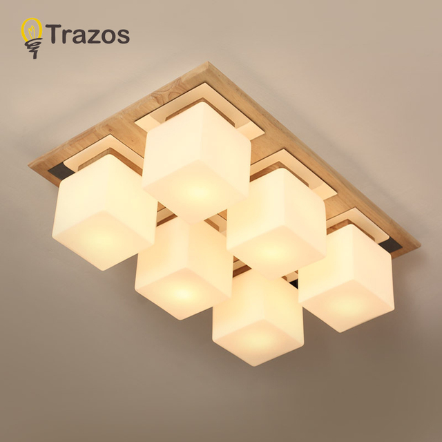 TRAZOS Nordic LED ceiling lamps modern wooden lights balcony ceiling light bedroom Fixtures restaurant lamp Ceiling lighting