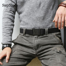 Supsindy hipoalergênico fibra de carbono fivela jeans cinto casual masculino & feminino correia de lona de náilon liberação rápida cinto tático cinta masculina