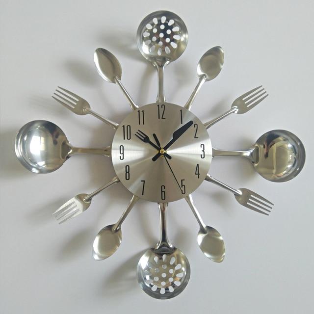 New Arrival Promotion Wall Modern Needle Clock Knife Clocks Kitchen The  Decoration Quartz Metal Mute Nrushed