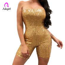 Sequin Diamonds Strapless Jumpsuit Women Sexy Party Playsuit Performance Romper Sleeveless Cold Shoulder Outfits Female Costumes