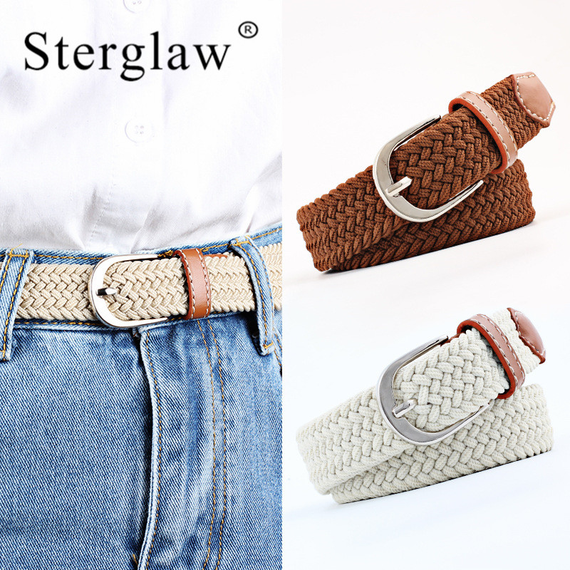 2020 Real Rushed Adult Solid 100-120cm Casual Stretch Woven Belt Women's Child Elastic Belts For Jeans Elastique Modeling N201