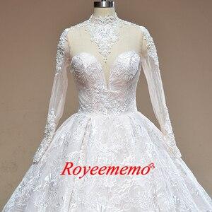 Image 2 - 2019 nuovo treno ad alta collo del merletto dellabito di sfera vestito da cerimonia nuziale Reale abito da sposa custom made abito da sposa di fabbrica direttamente da sposa abito