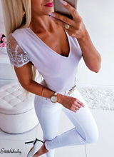 Hot Sexy Women Summer Tops Lace V Neck Fashion Pullover Top Backless Casual T-Shirt