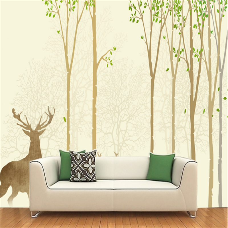 Custom Wall Mural Wallpaper Forest and Elk Minimalism Embossed Non-Woven Wall Modern Bedroom Wall Paper Roll TV Background beibehang black mosaic non woven wall paper roll modern embossed flocking wallpaper for living room tv background mural flooring