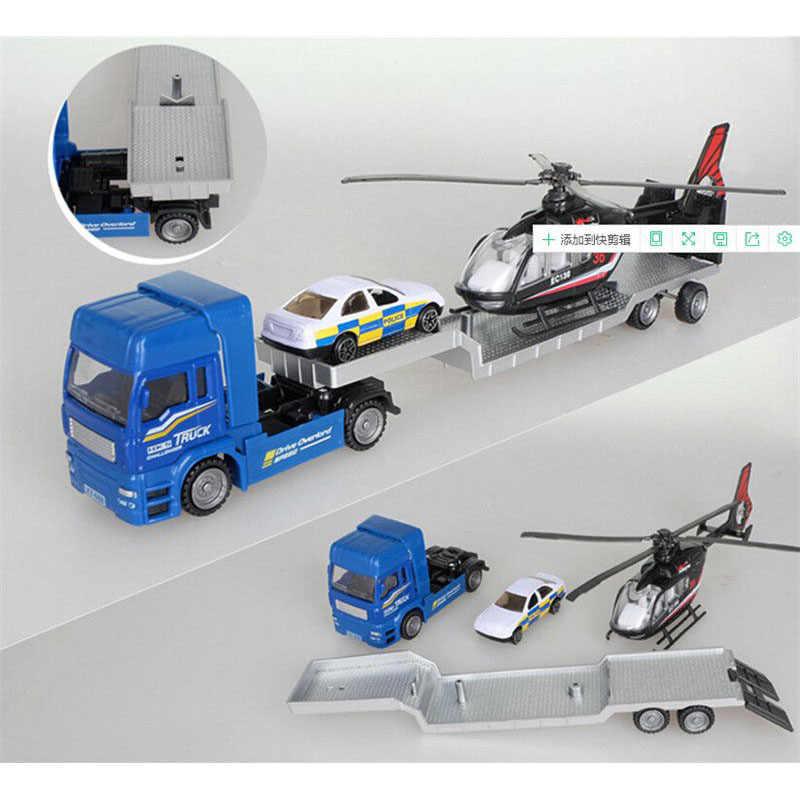 4 Pcs/set Ukuran Besar Paduan Pesawat Helikopter Teknik Mobil Traktor Mainan Dump Truk Model Klasik Mainan Anak Hadiah Mainan untuk anak-anak