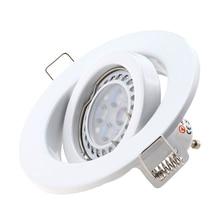 Modern White Recessed Spotlight Mounting Frame MR16 GU10 Socket Adjustable Ceiling Fitting Hole Lamp Lighting Fixture For Indoor