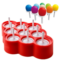 Silicone Lolly Mould Tray Pan Kitchen Randomly Color 9 Cell Frozen Ice Cube Molds Maker DIY