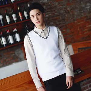 Image 4 - 100% כותנה אפוד גברים 2018 סתיו החורף חדש בריטי סגנון V צוואר שרוולים סוודר סריגי למשוך מותג בסיס למעלה בגדי 192