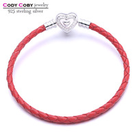 Real 925 Sterling Silver Heart Clasp Genuine Red Leather Snake Chain Bracelet Fit Original Charm For
