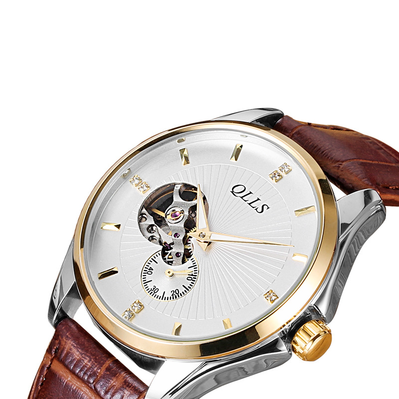 2017 New Luxury Watch Brand QLLS Mechanical Watch Men leather Fashion Clock Male Waterproof Watches Hollow Relogio Masculino new listing yazole men watch luxury brand watches quartz clock fashion leather belts watch cheap sports wristwatch relogio male
