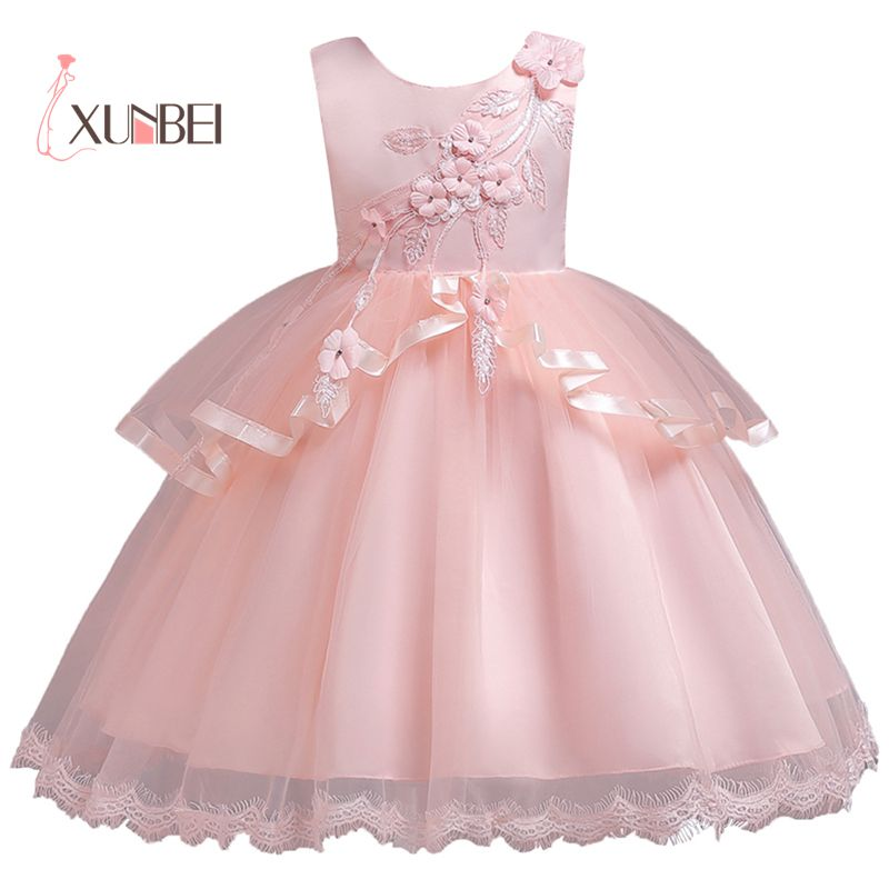 2-13Y Red Knee Length Tulle   Flower     Girl     Dresses   2019 Appliqued   Girls   Pageant   Dresses   First Communion   Dresses   Kids Party   Dresses