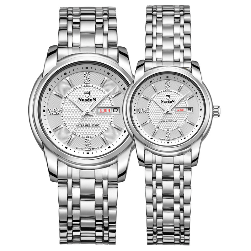 Nuodun Full Steel Watches Couple Watches For Men And Women Fashion Brand Wristwatches Dress Waterproof Watch