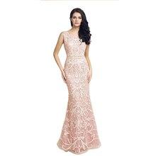 Perlen Rosa Spitze Muster Prom Kleider 2017 Vestido Lange Mermaid Formale Abendkleider Mint Green Lange Abendkleider LX212
