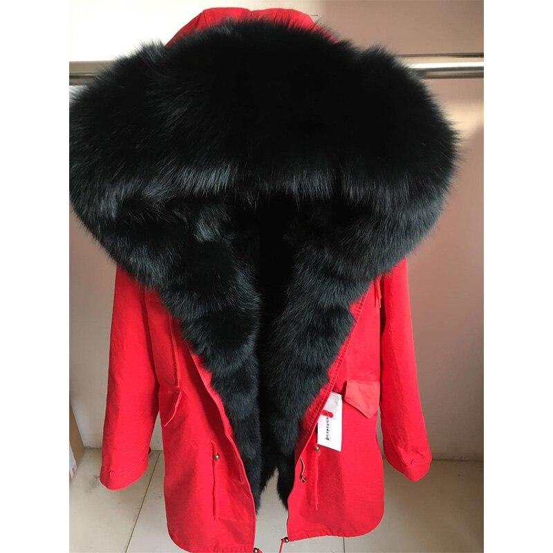 Chaqueta de invierno con cuello de zorro natural Parka de piel de mapache Real MaoMaoKong-in piel real from Ropa de mujer    1