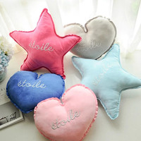 Cute heart shaped five pointed star embroidery deerskin soft cute pillow cushion car seat cushion baby plush toys