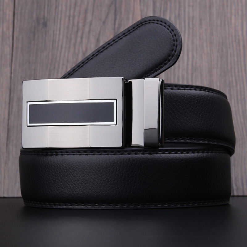 Mens Fashion Genuine Leather   Belt   Men   Belt   Gold Automatic Buckle Luxury Black Strap Designer   Belts   Men High Quality