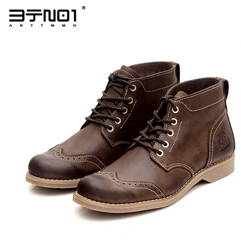 Hight Quality Retro Genuine Leather Mens Brogue Shoes Chukka Lace Up Ankle Boots Winter Round Toe Martin Boots купить