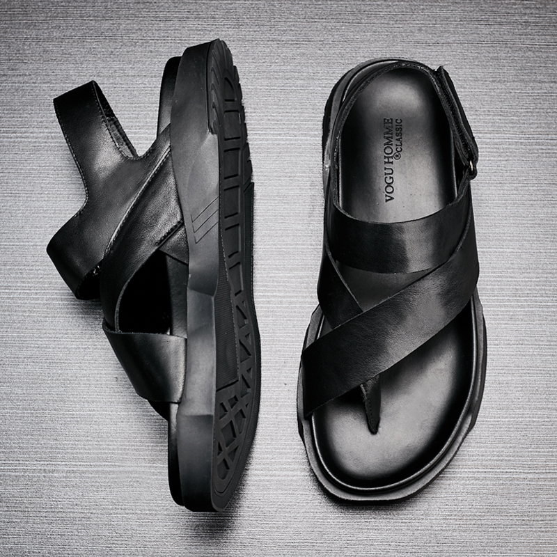 Prova Preto Na Lazer Sapatos Moda Sandálias grosso Couro sola Personalidade Roman Opentoed Britânico Ar Mens De Skid Verão À permeável wxCqH6F