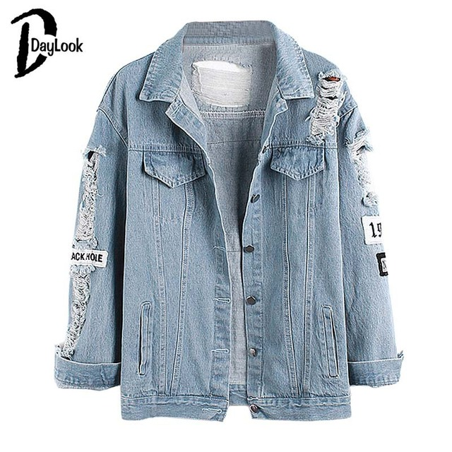 34a53de79dd Daylook 2016 Hot Sale Light Blue Letter Patch Ripped Pockets Denim Coat  Women Casual Summer Style