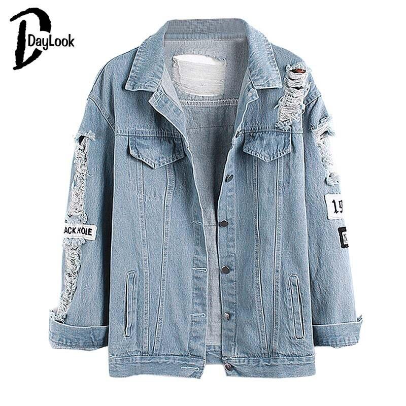 DayLook Daylook 2017 Лидер продаж светло-голубой письмо патч рваные карманы Однобортный джинсовая куртка Женская Повседневная летняя куртка одежда