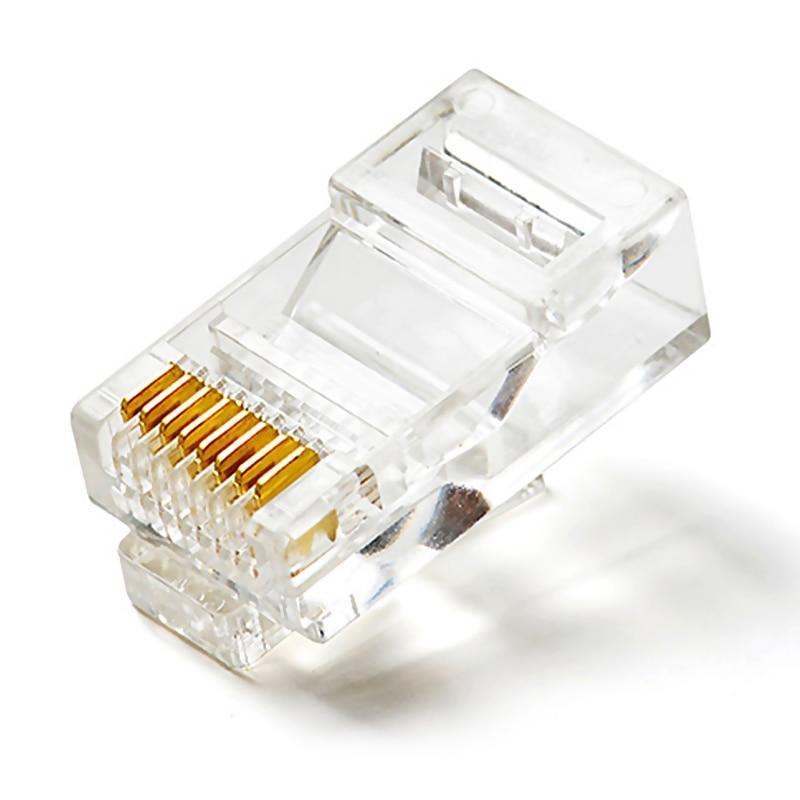 100 Pcs di Alta Qualità RJ45 Rete di cristallo Placcato Oro Adattatore di Testa di QJY99