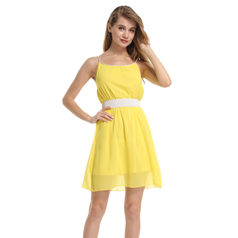 Dresses Summer Dress 2018 Plus Size Xxl Chiffon Beach Tunic Sashes A-line Straps Solid Colors Black Sexy Party Mini Short Dress