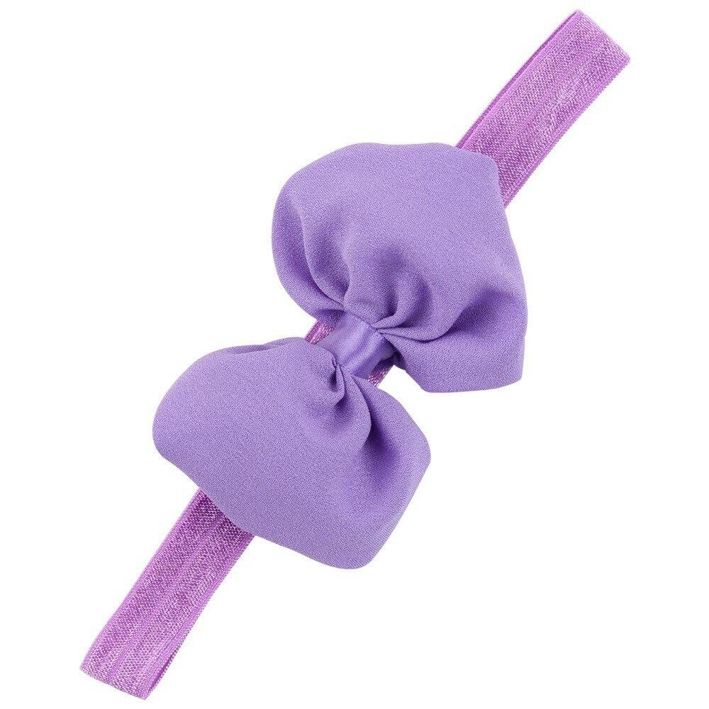 Детская повязка на голову, лента ручной работы, аксессуары для волос для малышей, новорожденных девочек, повязка с бантом Тюрбан-тиара - Цвет: Фиолетовый