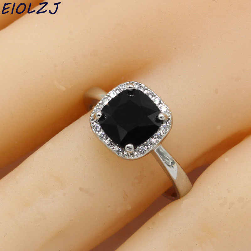 EIOLZJ Square Black Stone 925 Sterling Silver Rings For Women Anniversary Three Colors Available Free Jewelry Box Drop Shipping