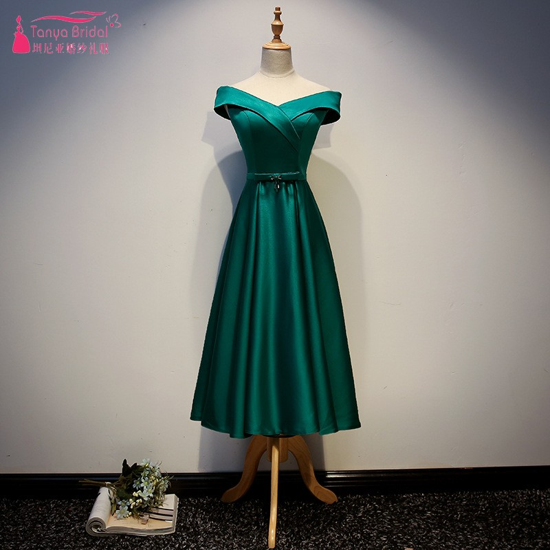 V Neck Green Bridesmaid Dresses Tea Length Satin Formal