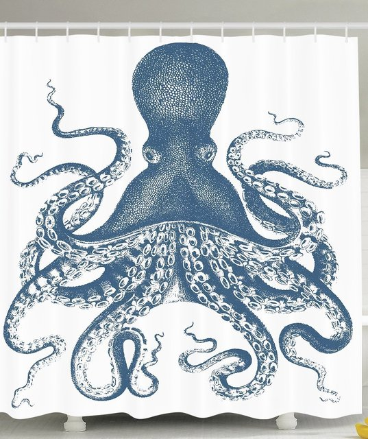 CHARMHOME Blue Octopus Shower Curtain Sea Creatures Life Nautical Polyester Fabric Bathroom Set