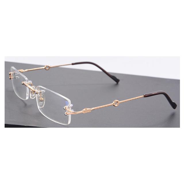 Ouro Mens Óculos de Marca Quadros Homens Óculos Armações de Óculos Sem Aro Frame Ótico Dropshoping 2751