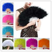 50pcs Color Thicken Fluffy Folding Marabou Feather Hand Fan Women Girls Dance Performance Fan Party Favors wedding decoration