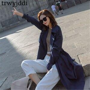 Image 4 - Mode coupe vent manteaux longue section 2020 nouveau printemps automne manteau femmes Trench manteaux coréen lâche décontracté dames vêtements dextérieur N402