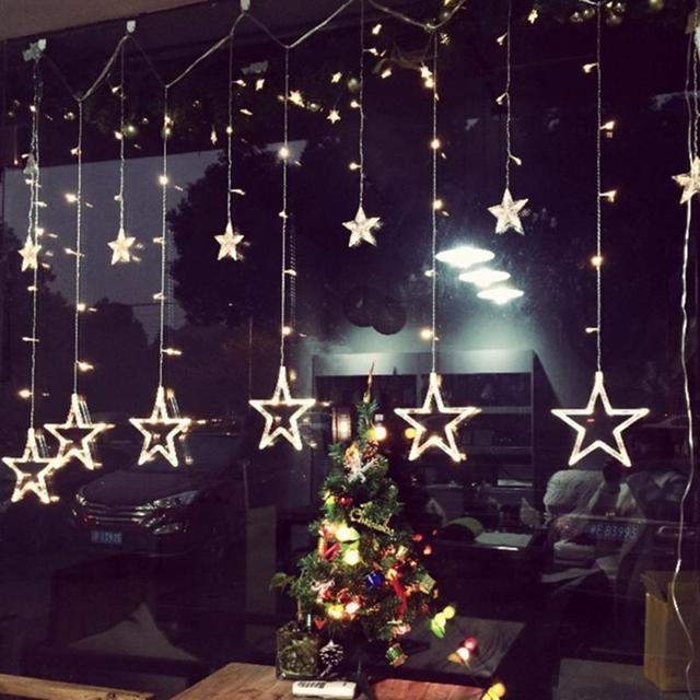 2 m 220 v gordijn ster lichtslingers kerst nieuwjaar decoratie kerst led verlichting kerstversiering 9