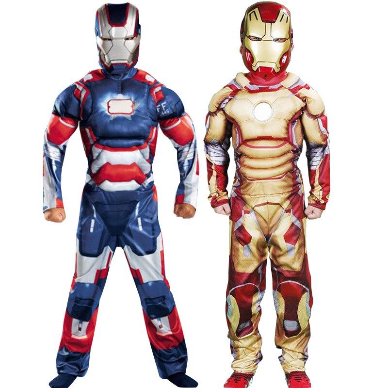 Crianças trajes cosplay homem de ferro meninos músculo super-herói halloween traje para crianças anime filme adereços disfraces