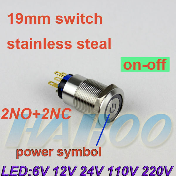 1pcs On Off Function Metal Switch Power Symbol Head With Led