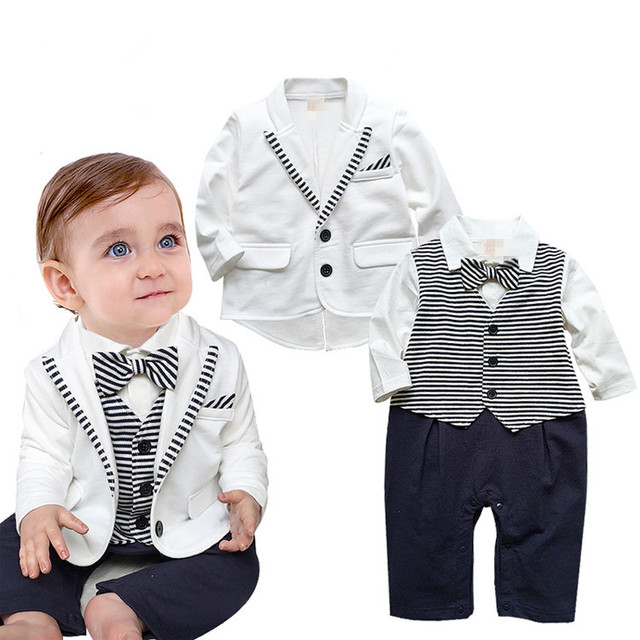 Hot sale New 2015 Spring / Autumn gentleman baby boy clothes white coat+ striped rompers clothing set newborn wedding suit