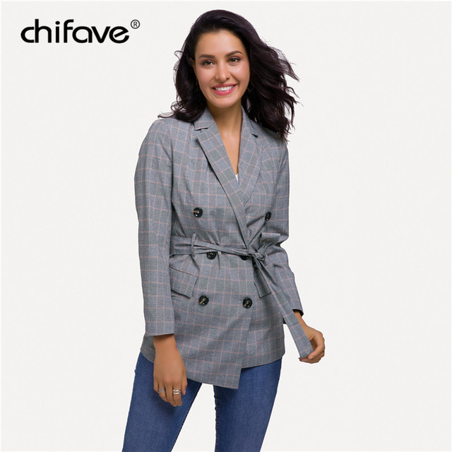 Casual Women Plaid Blazer Jacket Coat Belt Double Breasted Long Blazers Foraml Suit Casual Office Lady Wokr Wear Outwear chifave