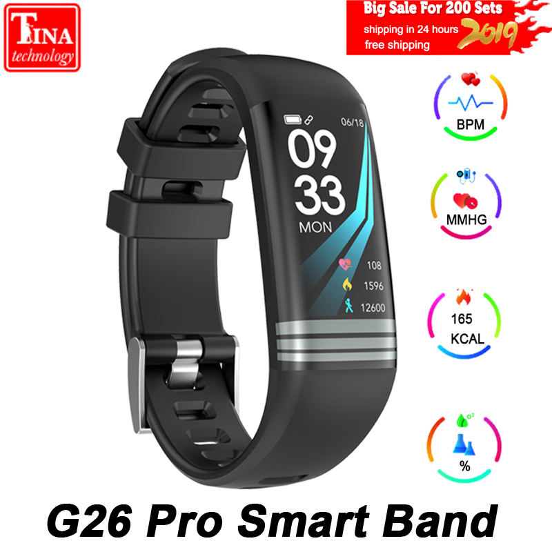 G26 Pro Color Screen Smart Bracelet Fitness Watch Activity Tracker Waterproof Smart Band Blood Pressure Measurement Wristband