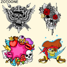 ZOTOONE Punk Iron on Patches Skull T-shirt Sweater Stickers A-level Washable DIY Accessory Decoration Print on Clothing Bags C canada maple leaf iron on a level patches for diy t shirt bags accessory decoration applique badge sticker patches washable